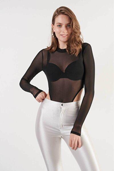 Kadın Siyah Uzun Kollu Transparan Alttan Çıtçıtlı Tül Bluz