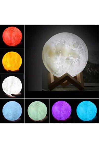 35cm 3d Ay Şeklinde Standlı Dokunmatik 6 Renk Değiştiren Gece Lambası