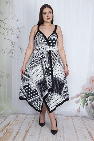 Kadın Siyah Anvelop Yakalı Askılı Elbise 65N23445