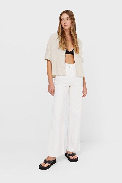 Kadın Beyaz Asimetrik Belli Straight Fit Jeans