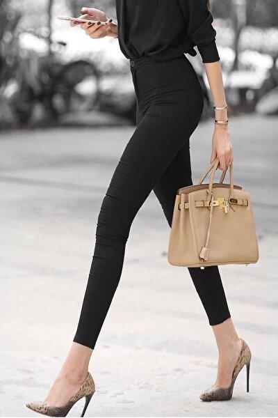 Gabardin Kumaş Yüksek Bel Pantolon