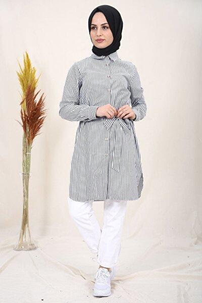 Kadın Gri Çizgili Belden Bağlamalı Gömlek Tunik 2125-1