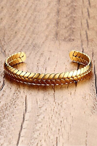 Kadın Altın  Örgü Kelepçe Dizayn Çelik Bileklik Eh05