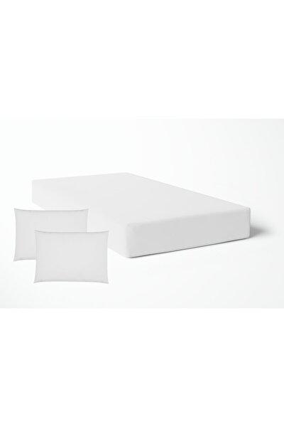 Çift Kişilik Saten Lastikli Çarşaf - Beyaz( Yastıklı)