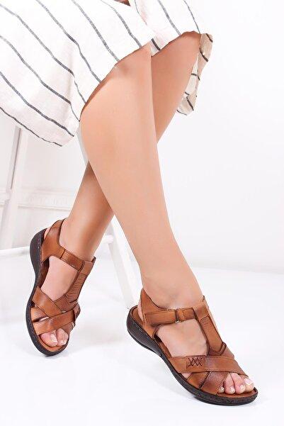 Hakiki Deri Taba Kadın Deri Sandalet Dc-0111