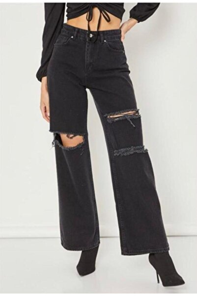 Kadın Siyah Cool Palazzo Yırtık Ispanyol Bol Paça Jean Kot Pantolon-new