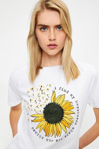 Kadın Yazılı Ve Çicek Baskılı Ekru T-shirt 0yal18499ık