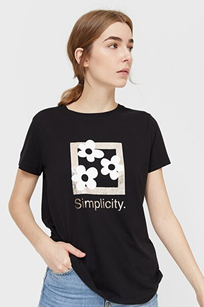 Kadın Siyah Baskılı Kısa Kollu T-shirt