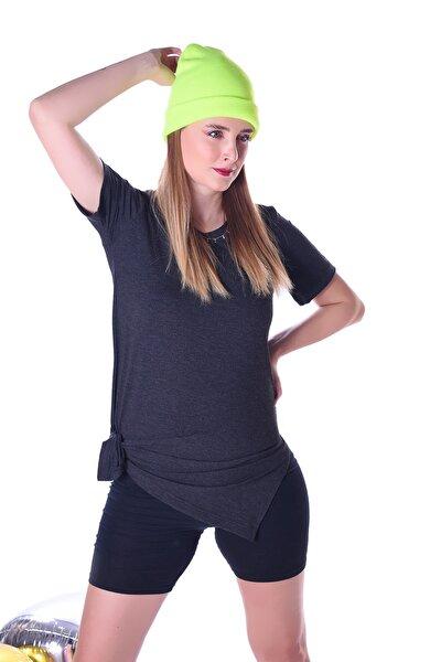 Kadın Antrasit Yanları Yırtmaçlı Uzun T-shirt