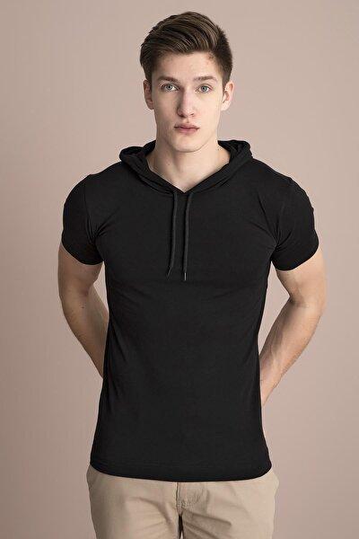 Erkek Siyah Kapüşonlu Düz Tişört