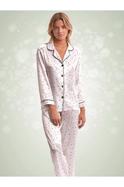 Puantiyeli Saten Pijama 66394