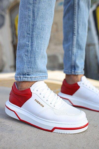 Ch075 Ipekyol Beyaz Taban Erkek Ayakkabı Beyaz / Kırmızı