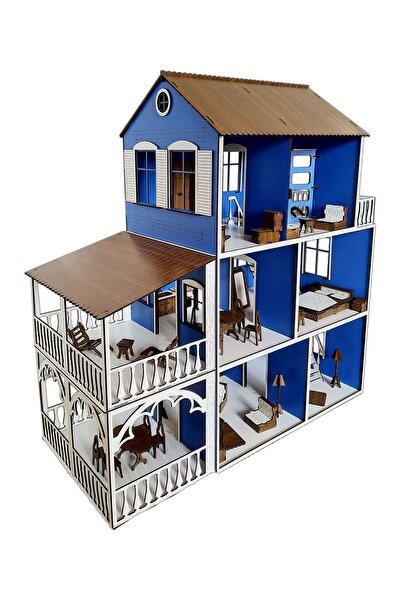 Ahşap Barbie Çocuk Oyun Evi Çocuk Odası Oyuncağı 48 Parça Eşyalı Seti Mavi 80 Cm