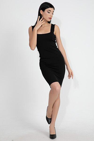 Ön Arka Kare Yaka Askılı Kadın Triko Elbise