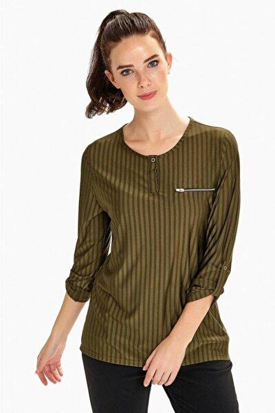 Kadın Haki Kolları Apoletli Fermuar Cepli Çizgili Bluz 190-1050