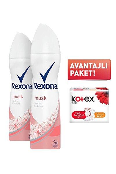 Musk Kadın Sprey Deodorant 150 ml X 2 Adet + Kotex 8'l Normal