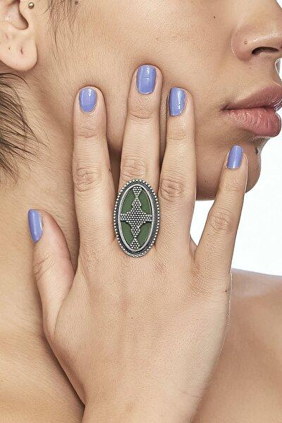 Zeydor Antik Gümüş Kaplama Ayarlanabilir Mineli Yeşil Osmanlı Yüzük