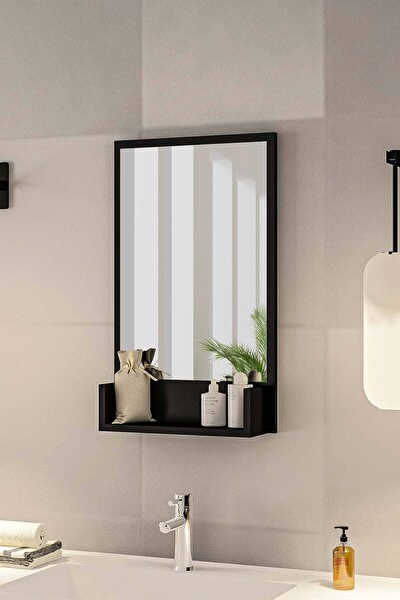 Siyah Raflı Antre Hol Koridor Duvar Salon Mutfak Yatak Odası Aynası  75cm