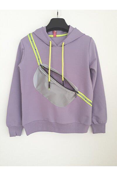 Çantalı Kapüşonlu Lila Kız Çocuk Mevsimlik Tarz Sweatshirt