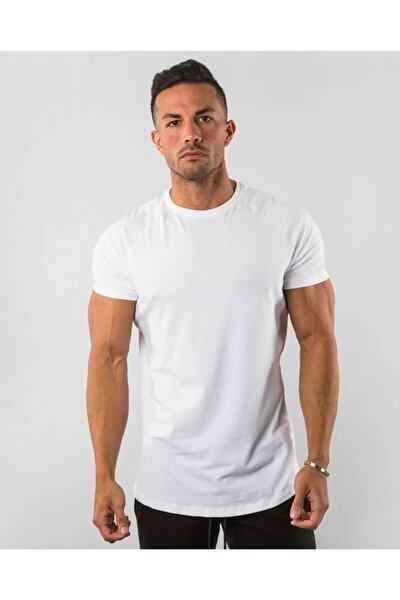 Beyaz Erkek Basic %100 Pamuk Bisiklet Yaka T-shirt