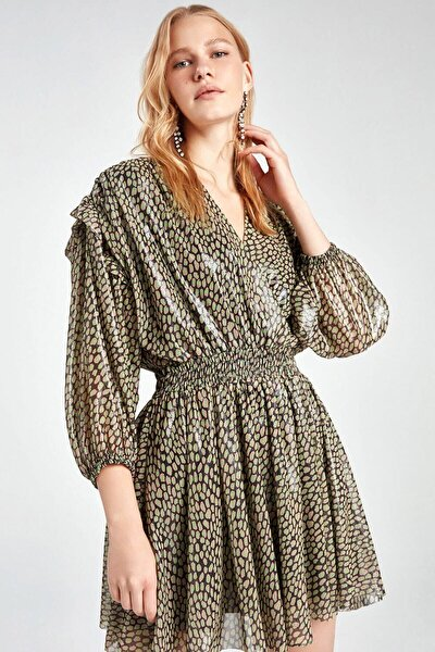 Kruvaze Parlak Desenli Mini Elbise
