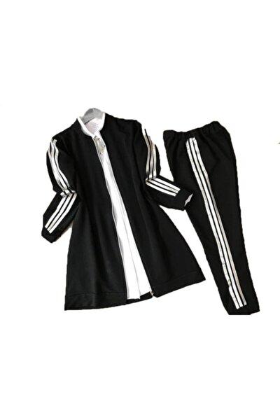 Bayan Tesettür Eşofman Takımı Kadın Siyah Üç Şeritli Spor Ikili Takım
