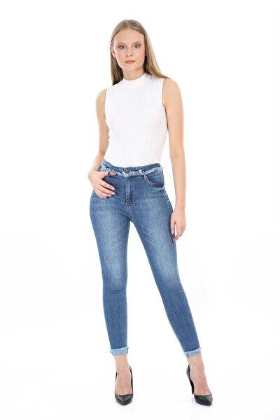 Kadın Mavi Yıpratmalı Yüksek Bel Skinny Jeans