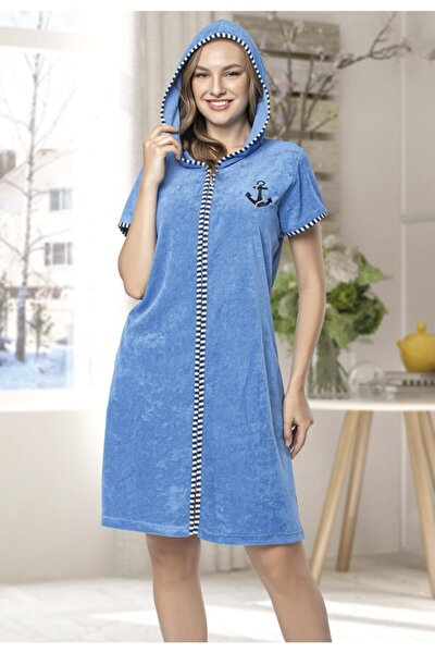 Kadın Fermuarlı Mavi Renk Kapüşonlu Havlu Elbise