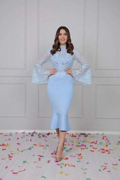 Scuba Ve Güpür Detaylı Elbise - Buz Mavi