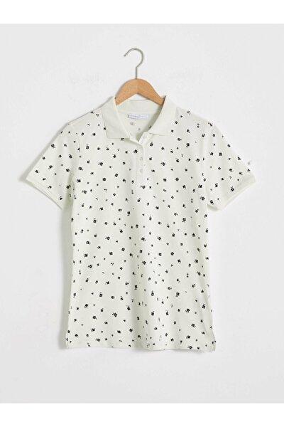 Kadın Ekru Baskılı Polo Yaka T-shirt
