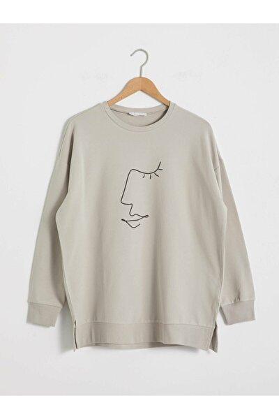 Kadın Açık Gri Sweatshirt