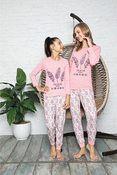Kuş Tüyü Baskılı Pembe Anne Kız Pijama Takımı