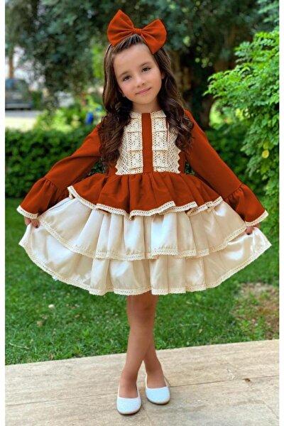 Kız Çocuk Krem Dantel Işlemeli Kiremit Elbise