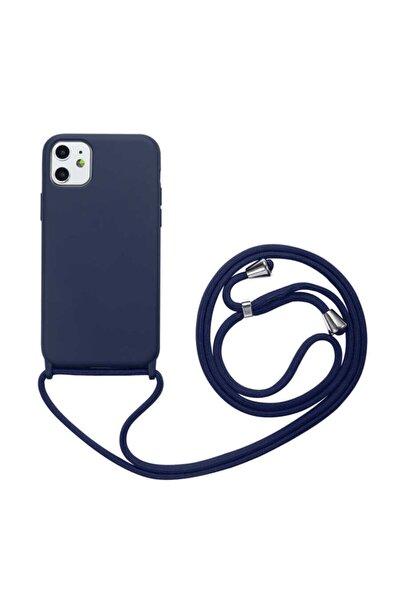 Apple Iphone 11 Boyun Askılı Silikon Kılıf (Kadife Iç Yüzey Şık Tasarım) Lacivert