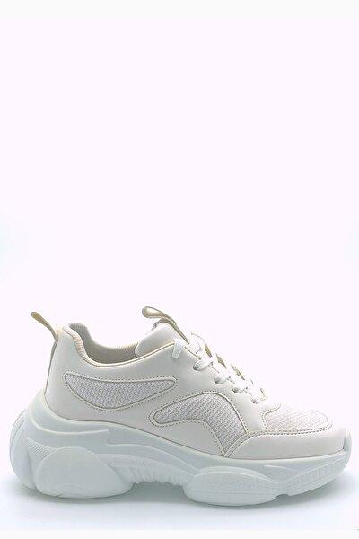 Kadın Beyaz Cilt Yüksek Taban Bağcıklı Spor Ayakkabı