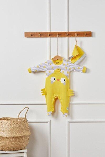Unisex Bebek Sarı Civciv Patikli Şapkalı Tulum