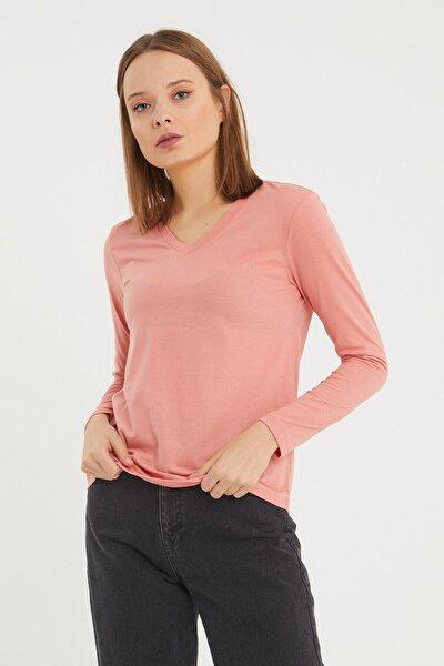 Pembe V Yaka Kadın Uzun Kollu T-shirt