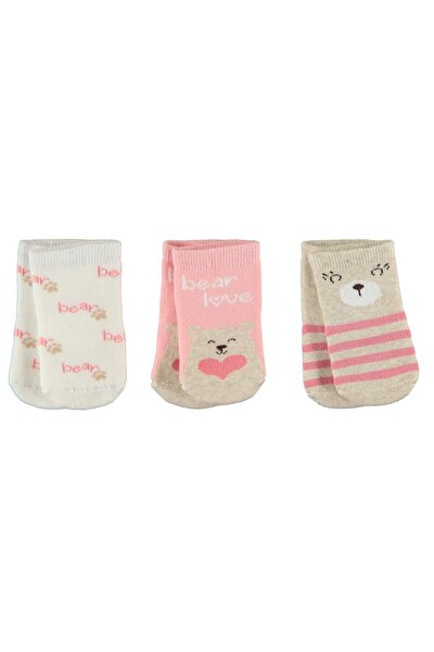 Kız Bebek Havlu 3'lü Çorap Set 0-24 Ay Pudra