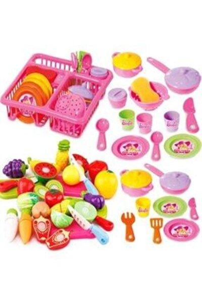 Barbie Oyuncak Bulaşıklık Tabak Tencere Set + 22 Parça Kesilebilen Oyuncak Meyve Sebze Set Depomiks