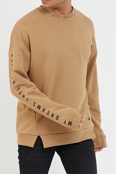 Bej Baskılı Yumuşak Dokulu Sweatshirt 1kxe8-44485-25