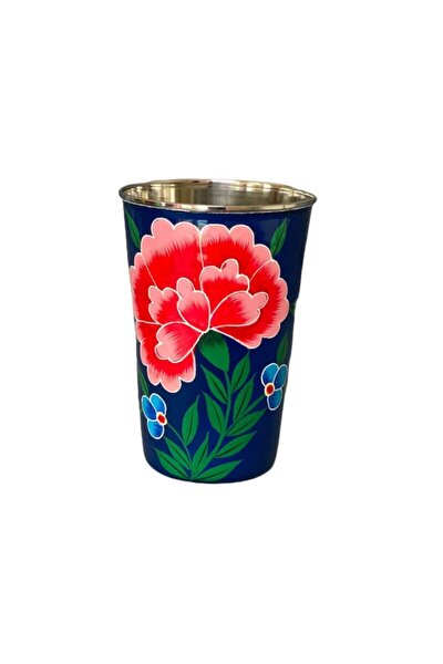 Paslanmaz Çelik Emaye El Boyama Bardak Lacivert Çiçek