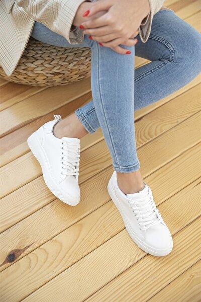 Kadın Beyaz Deri Spor Ayakkabı