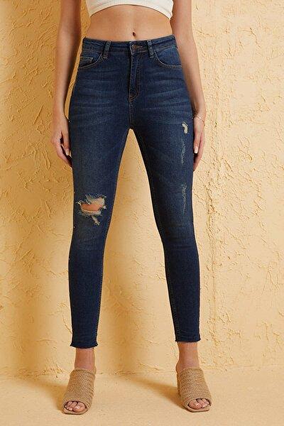 Kadın Mavi Desenli Jeans