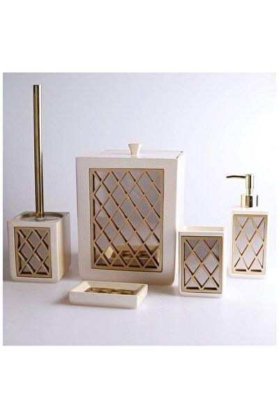 Home Felica Inci-altın Polyester 5 Parça Banyo Seti