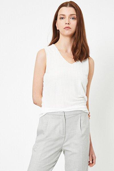 Kadın Beyaz V Yaka Bluz 0yak33820ek