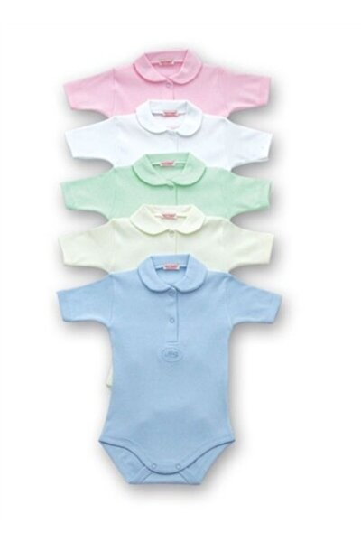 Unisex Bebek Beyaz Yakalı Kısa Kollu Body