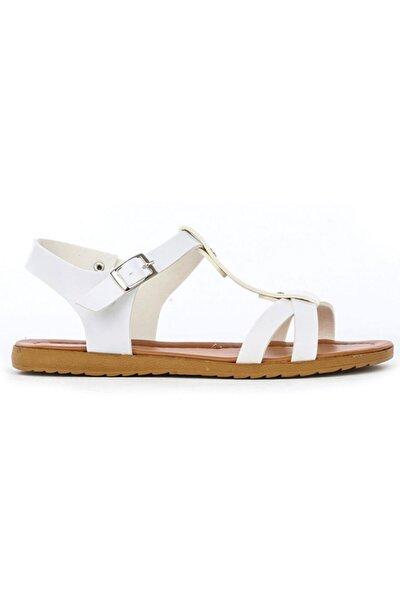 Düz Taban Beyaz Bayan Sandalet