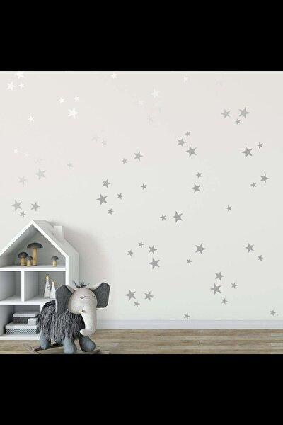 Gümüş Yıldız Duvar Sticker 3-4-5 cm 112 adet