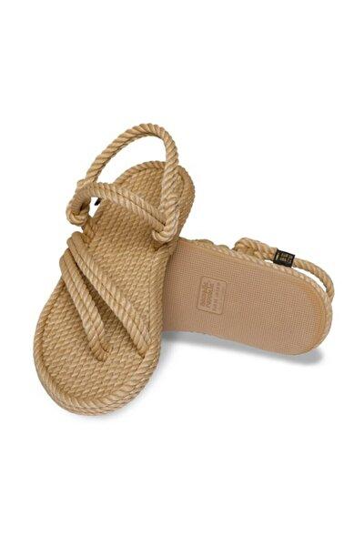 Cancun Kauçuk Tabanlı Kadın Halat Sandalet - Bej