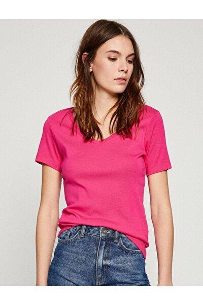 Kadın Pembe V Yaka Kısa Kollu T-Shirt 8YTK12951SK